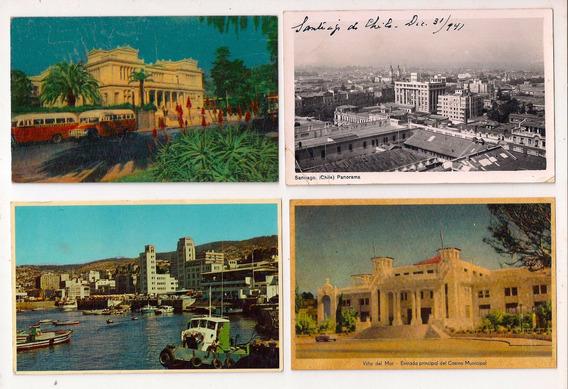 Lote De 8 Antiguas Postales De Chile