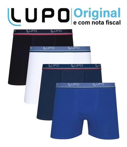 Imagem 1 de 10 de Kit 4 Cuecas Boxer Lupo Em Algodão Masculina Cotton Original