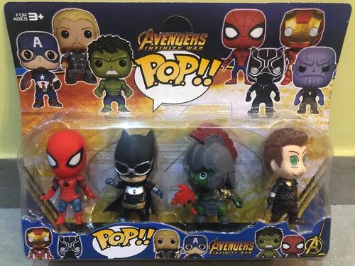 Muñecos Funko Pop Avengers X4 Spiderman Batman Con Luz 10 Cm