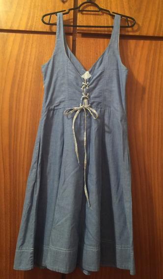 Vestido Azul Claro Trançado Nas Costas