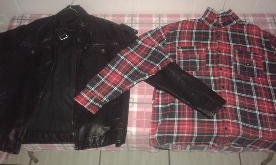 Jaqueta Xadrez Dc Shoes +jaqueta De Couro 2 No Preço De 1!
