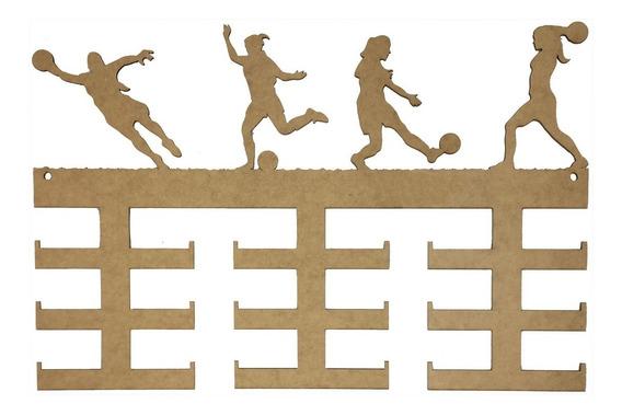 Quadro Medalha Mdf Futebol Feminino - 18 Medalhas