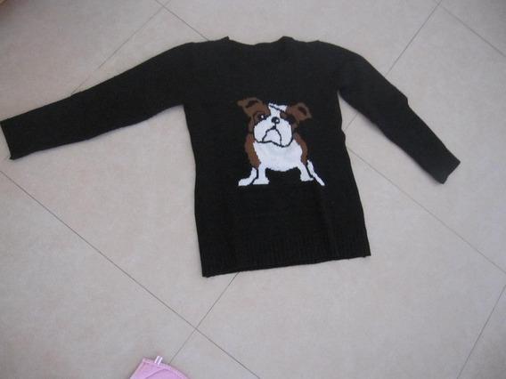 Sweater Negro Con Perrito Talle 16 Años O Small