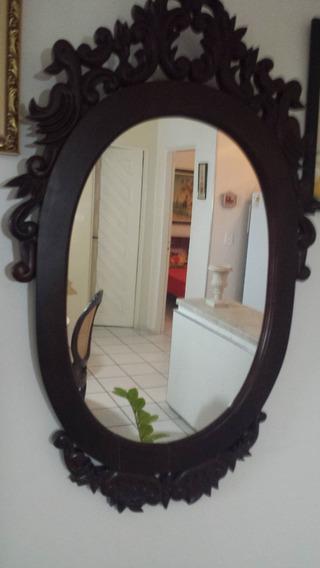 Espelho Com Moldura De Madeira De Cedro