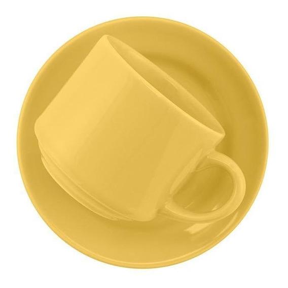 Cj. De 6 Xícaras Grandes 200ml C/pires Biona- Donna Amarelo