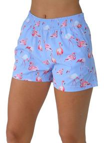 Shorts Feminino De Tactel Estampa Flamingo Lilás