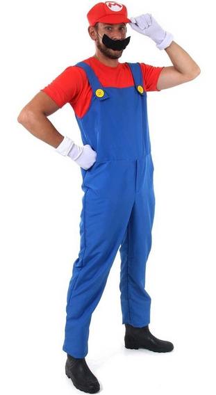 Roupa Para Cosplay Do Super Mario Adulto Masculino Completa