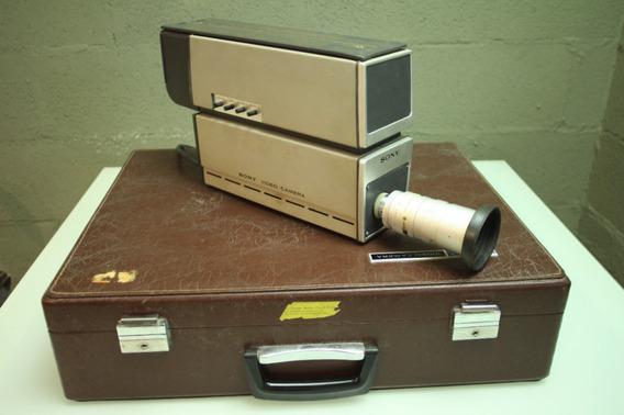 Filmadora Câmera Sony Profissional Colorida Antiga Década 70