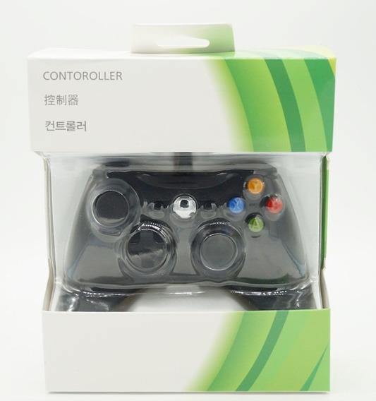 Joystick Com Fio Controle Para Xbox 360 E Pc - Preta 01 Und