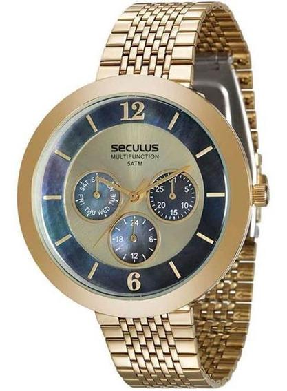 Relógio Feminino Seculus Multifunction 20541lpsvds1 Dourado