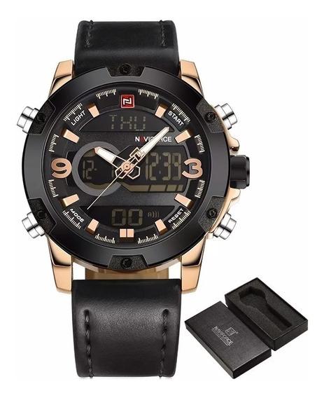 Relógio Masculino Luxo Naviforce 9097 Couro Social Com Caixa