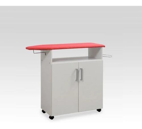 Mueble Tabla Planchar 110cm Organizador 2 Puertas Y Estantes