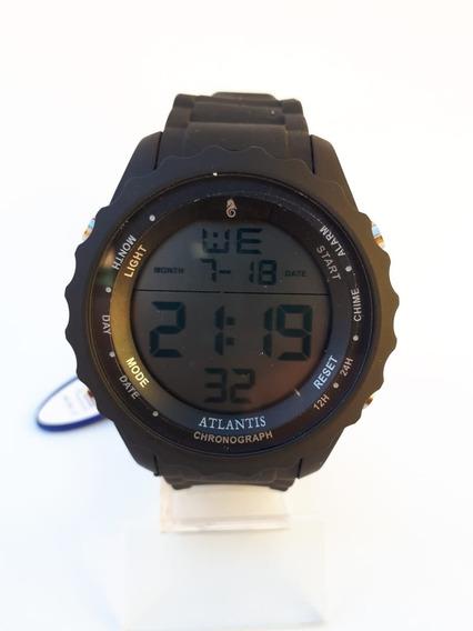 Relógio Masculino Atlantis Esportivo Pulseira De Borracha