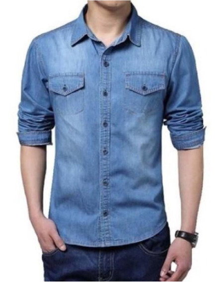 Camisa Masculina Jeans Manda Longa Ótima Forma Grande