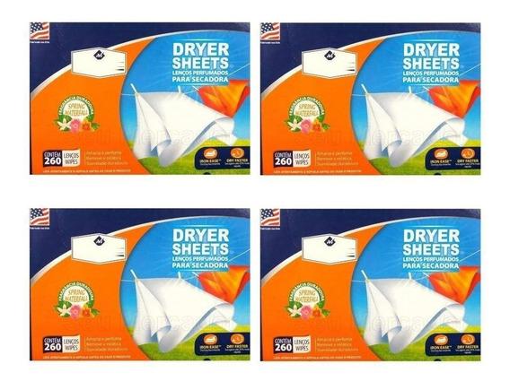 4 Lenços Perfumados P/ Secadora C/ 260 Unidades Dryer Sheets