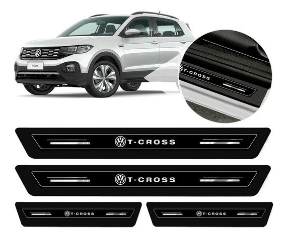 Soleira Protetor Porta Platinum Vw T-cross 2019 2020 - Preto