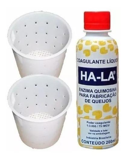 1 Coalho Liquido Ha-la 200ml Coagulante Queijo+2 Formas 1kg
