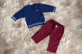 Conjunto Infantil Masculino, Calça Jeans E Blusa De Tricô