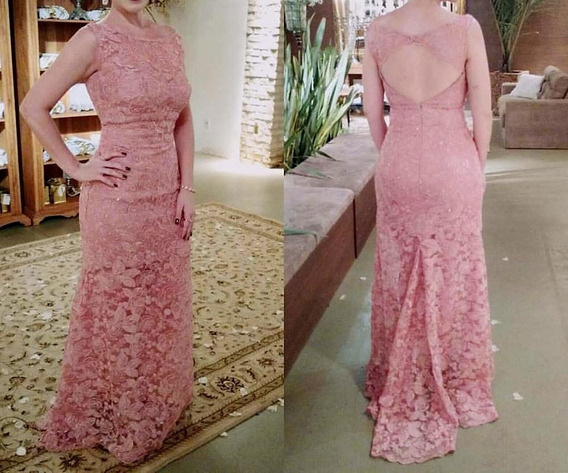 Vestido Madrinha Longo De Renda Rose Rosa
