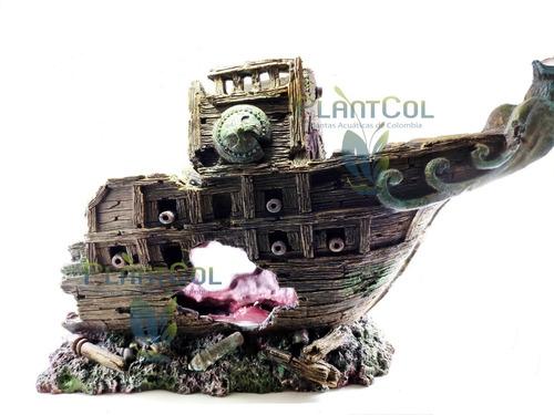 Decoración Adorno Acuario Barco Ws005l