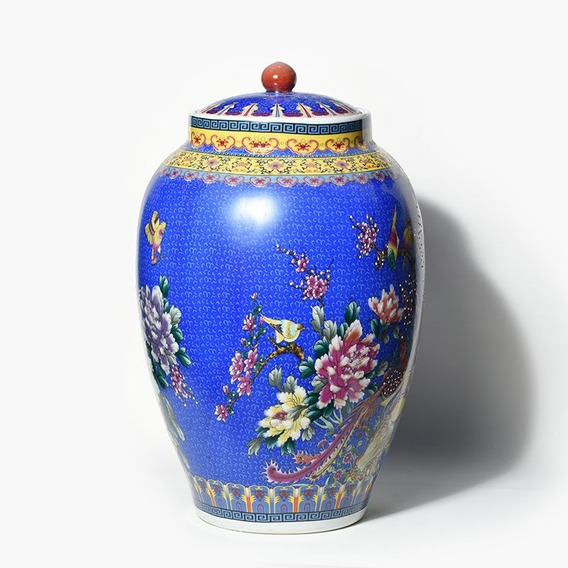 Vaso De Chão Porcelana Indiano Decorativo Azul Nordeste