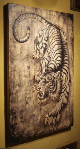 Cuadro Tallado En Relieve De Tigre 120 X 74 Cm