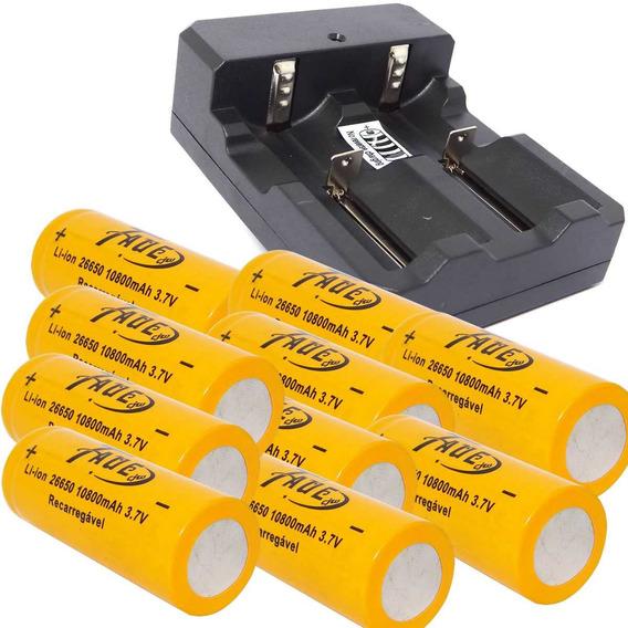 10 Bateria 26650 3.7v 8800mah Recarreg+ 1 Carregador Duplo