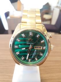 Relógio Orient Dourado Fundo Verde