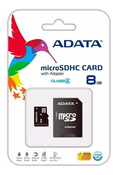 Cartão Memória Micro Sd A-data 8gb + 1 Adpt. Class 4