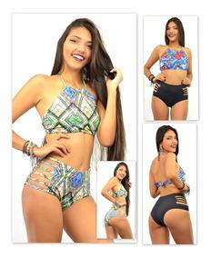 Conjunto Cropped C/bojo Calcinha Alta Hot Pant Tiras R22015