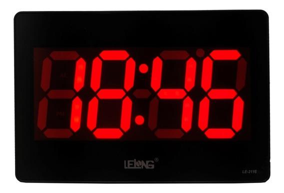 Relógio Parede Mesa Led Vermelho Calendário Termômetro Alarm