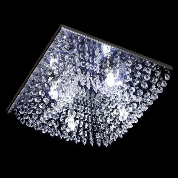 Lustre Cristal Legítimo Plafon Sala Quadrado 30 Cm - Kyoto