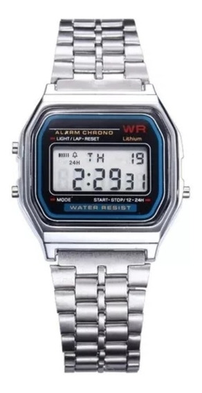 Relógio Pulso Digital Wr Retrô Inoxidável