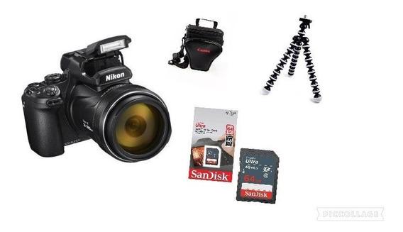 Câmera Nikon Coolpix P1000-4k Zoom 125x+bolsa+64gb+tiripé
