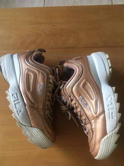 Zapatillas Fila Discruptor Cuero Perlado T36.5 Europa