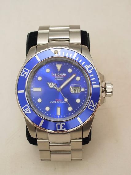 Baixou Relogio Mergulho 200m Insignum Subwave Blue Inox