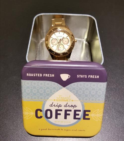 Relógio Fóssil Coffe Dourado / Rosé - Importado - Original