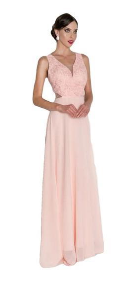 Vestido Decote V Rendas E Pérolas Salmão Coral Claro