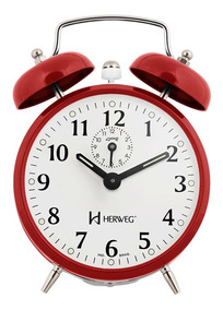 Relógio Despertador A Cordas Vermelho Campainha Forte Herweg