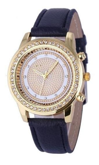 Relógio De Pulso Feminino C/ Strass Geneva Adulto Mulher