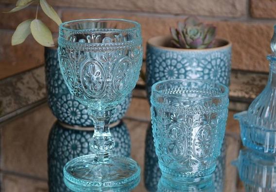 Set 12 Copas P/agua 16.7x8.8cm Y 12 Vasos Celestes Y Transpa