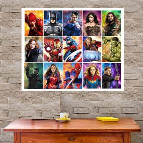 Placa Decorativa Vingadores O Filme Painel Grande 67x67cm