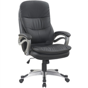 Cadeira Para Escritório Giratória Regulável Couro Pu Preta