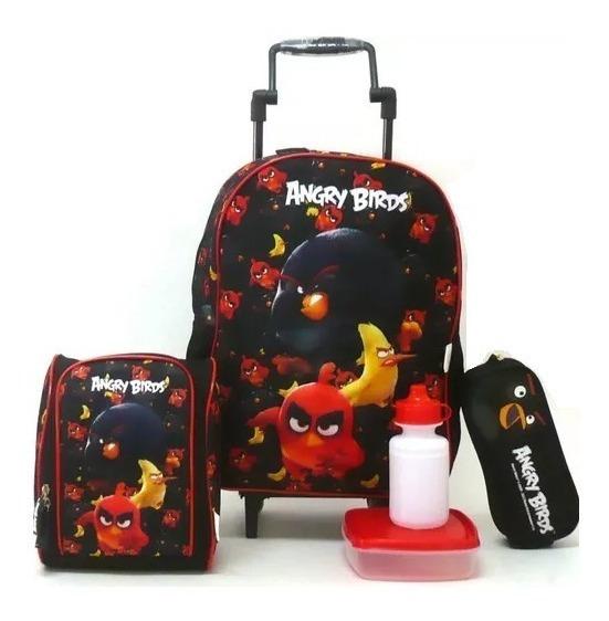 Kit Mochila Angry Birds Alto Relevo 3d Rodinhas G Santino