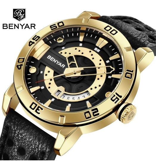 Relógio Masculino Benyar 5150 Original Dourado C/ Preto