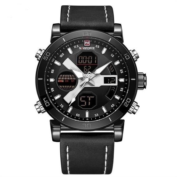 Relógio Masculino Couro Preto Naviforce Nf9132