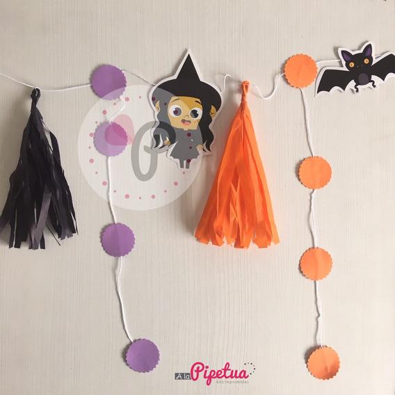 Guirnalda Halloween Bruja Calabaza Pompones Colgante