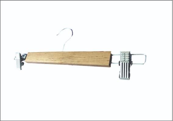 Gancho Para Ropa Pantalón Madera Y Metal Cromado Con Pinzas 35 X 12cm