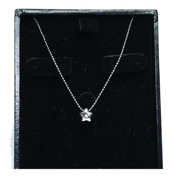 Pocao2005- Colar De Ouro Branco 18k750 Estrela Diamante C34