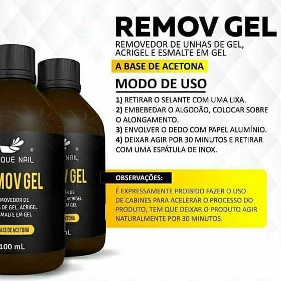 Removedor Unha Em Gel - Esmalte Em Gel 100ml - Unique Nail.